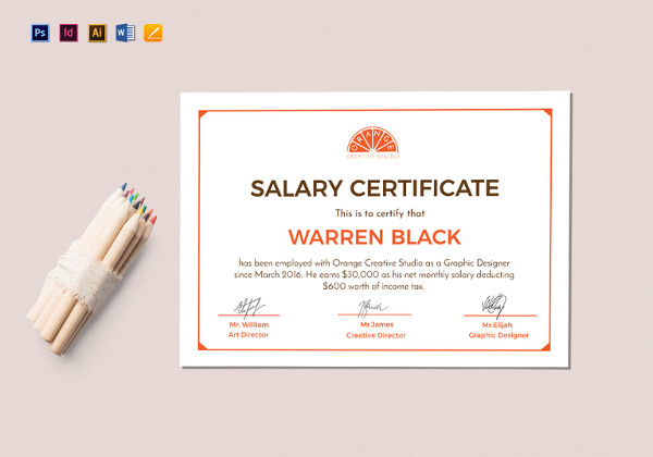 monthly salary certificate template