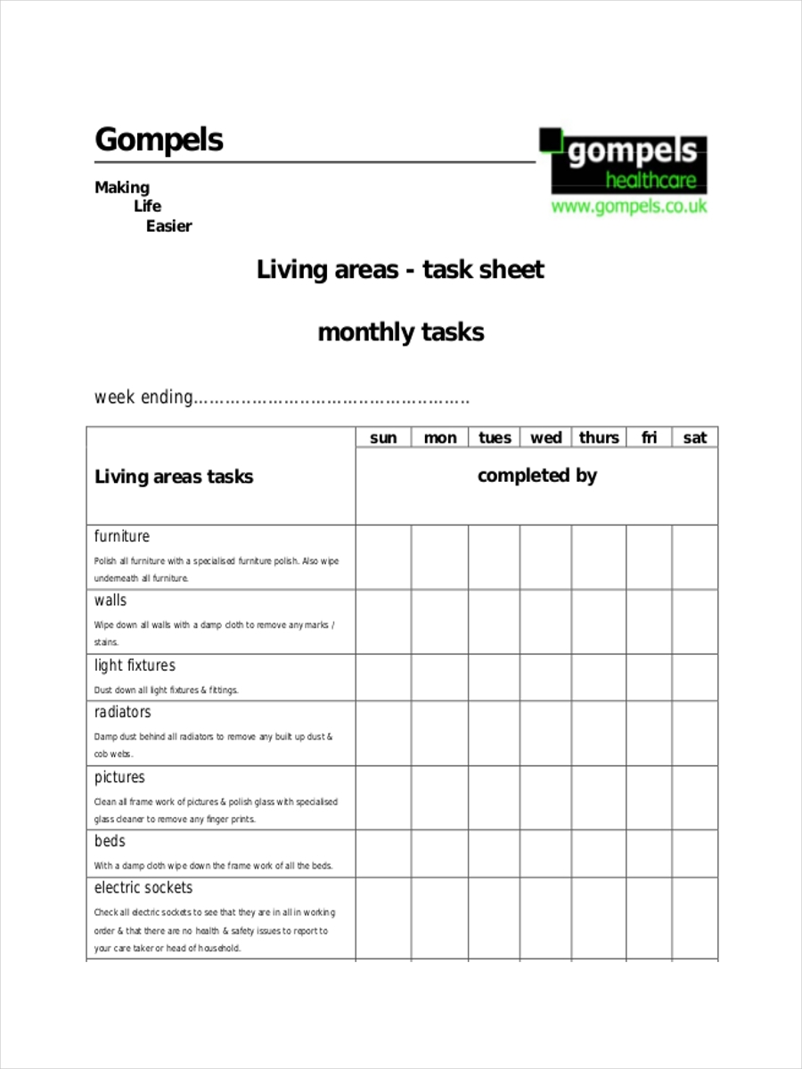monthly task sheet