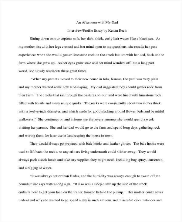 narrative essay based on an interview Interviewing someone is an incredible way to experience real, living history learn how to interview someone and then write it into a narrative essay.