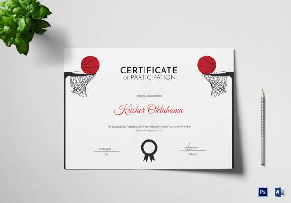 netball sports certificate template