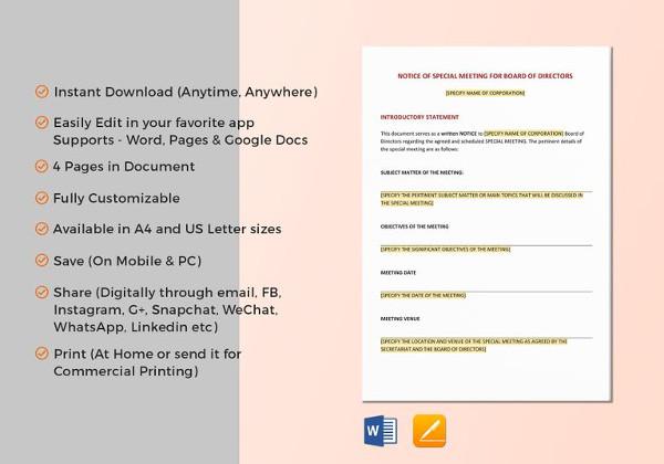 14 meeting notice examples samples pdf word