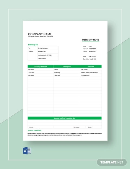 order delivery note template