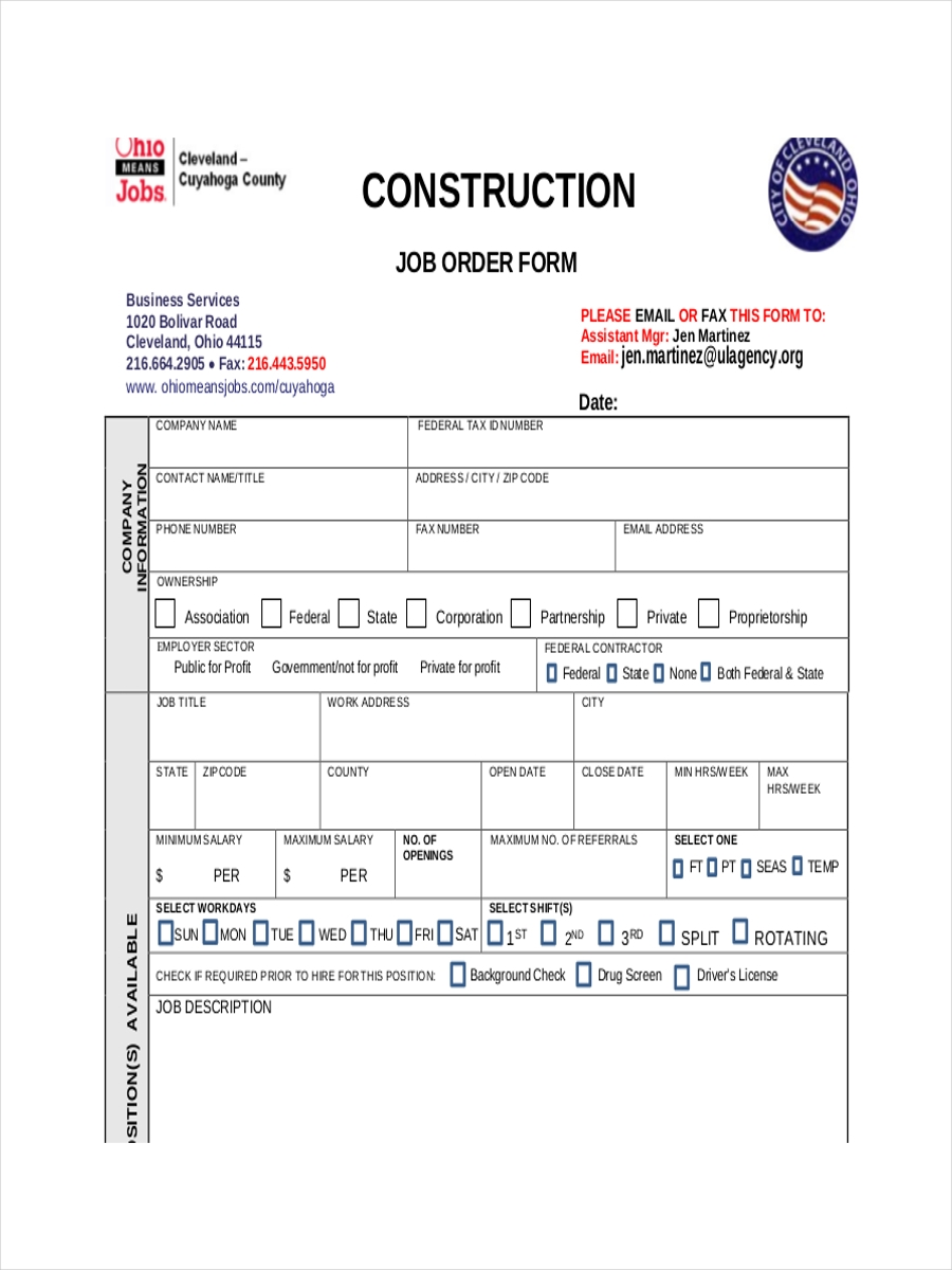 order for construction job