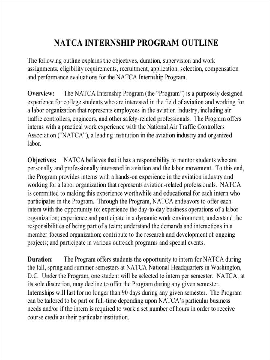 outline for internship program