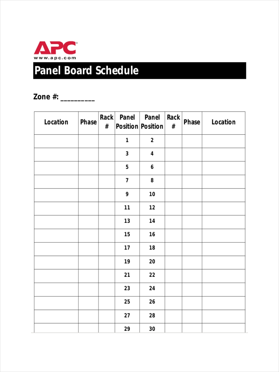 panel board schedule sample1