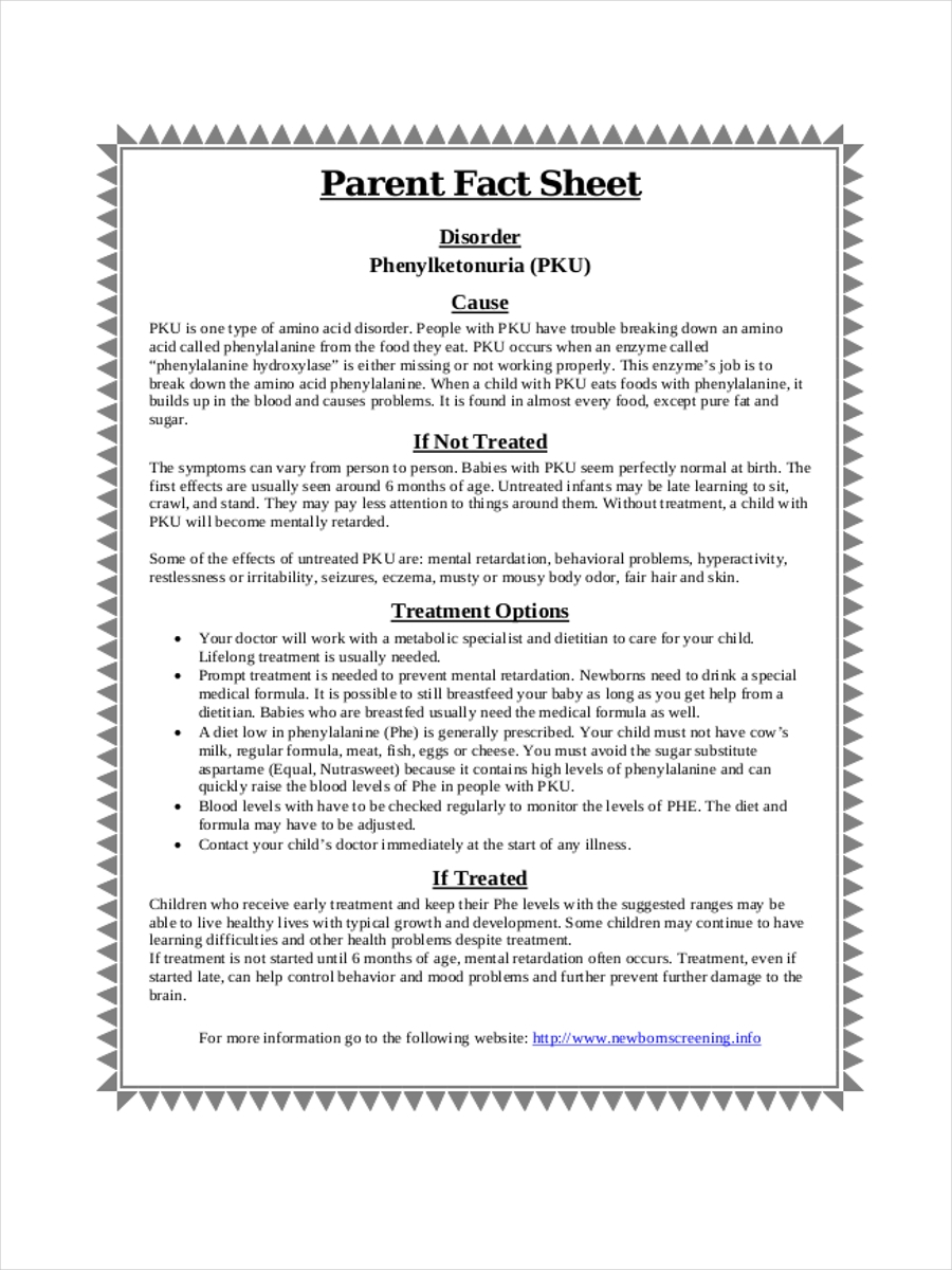 parent fact sheet