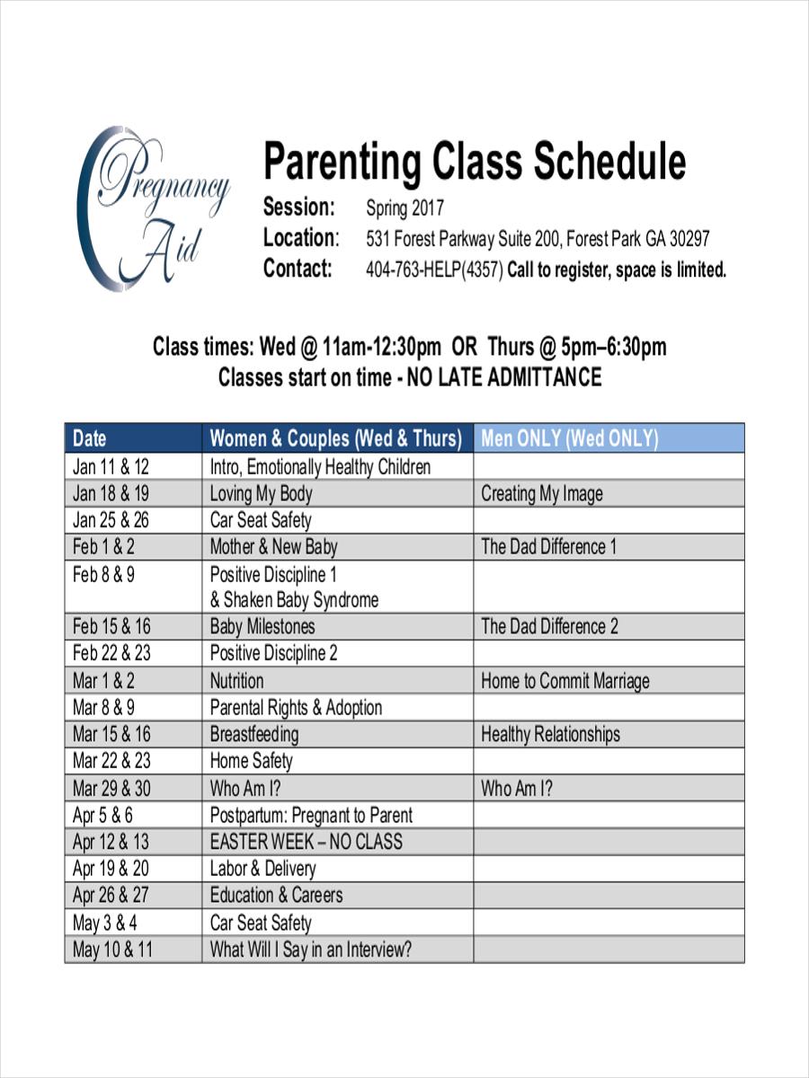 parenting class schedule
