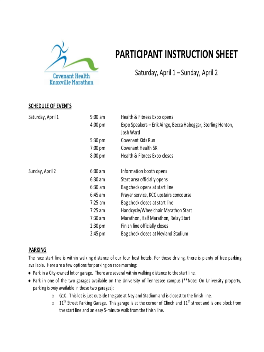 participant instruction sheet