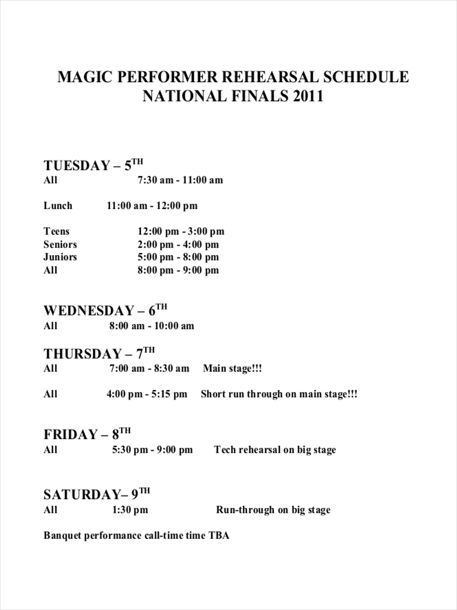 performers rehearsal schedule