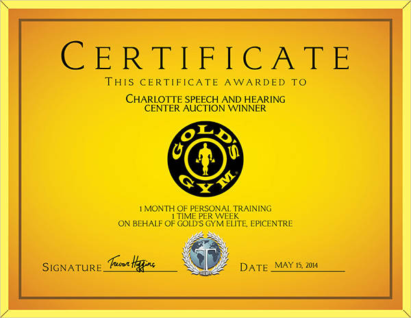 personal training award certificate