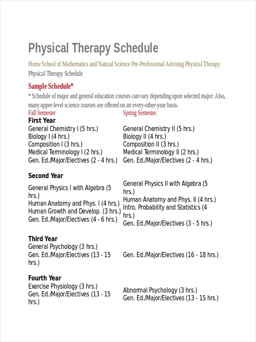physical therapy schedule sample