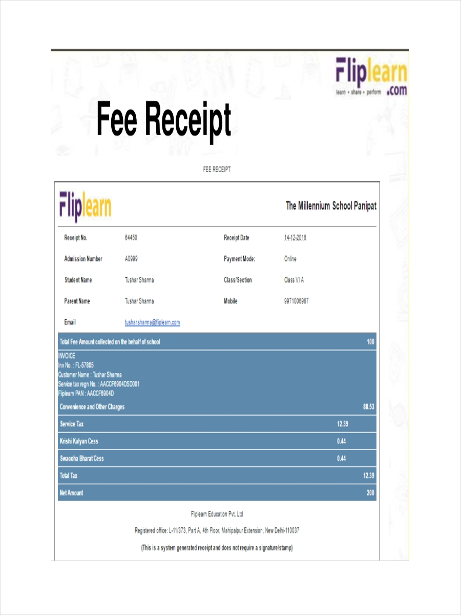 6  school receipt examples  samples