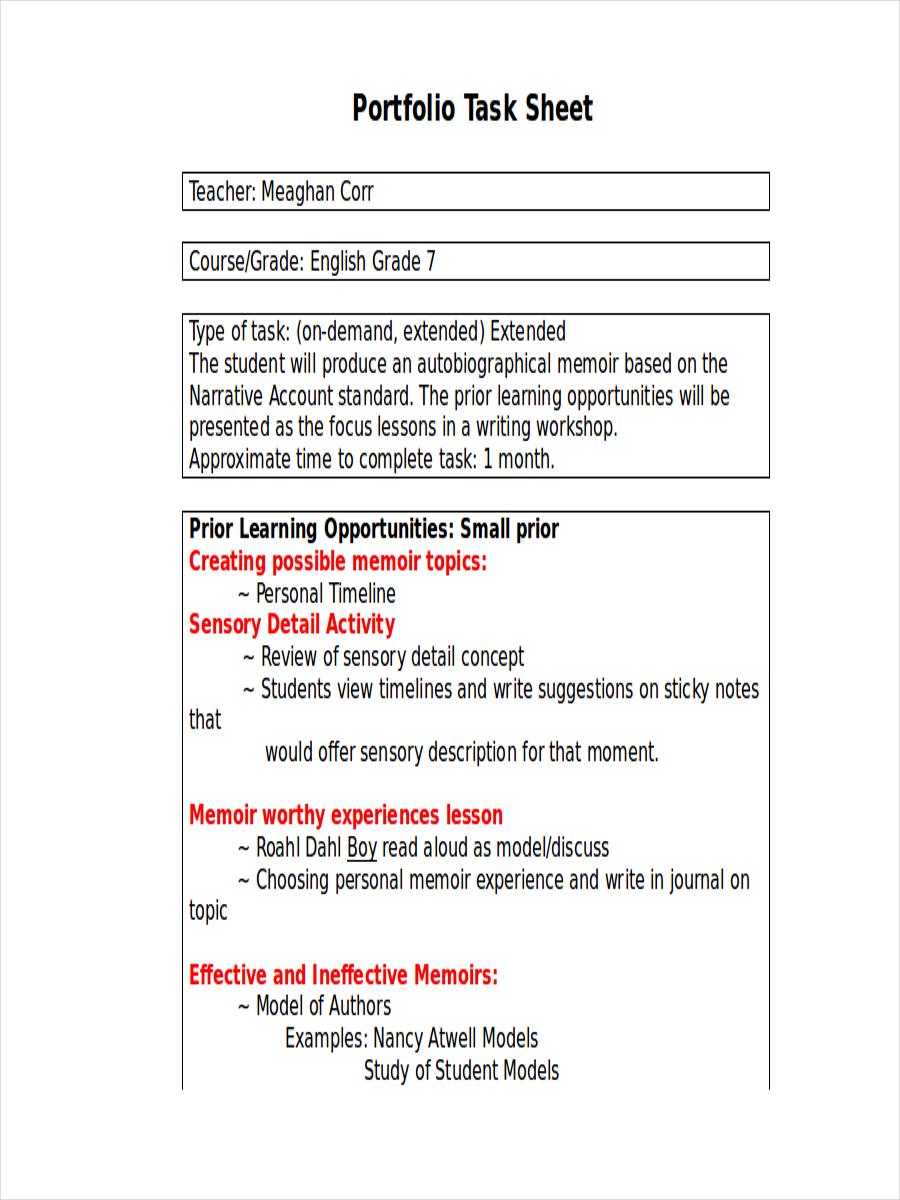 portfolio task sheet
