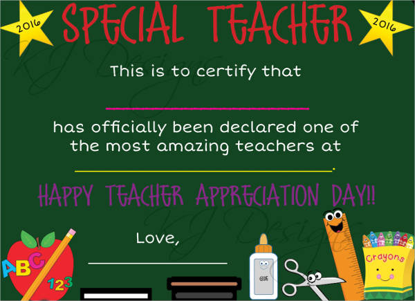 preschool teacher certificate of appreciation