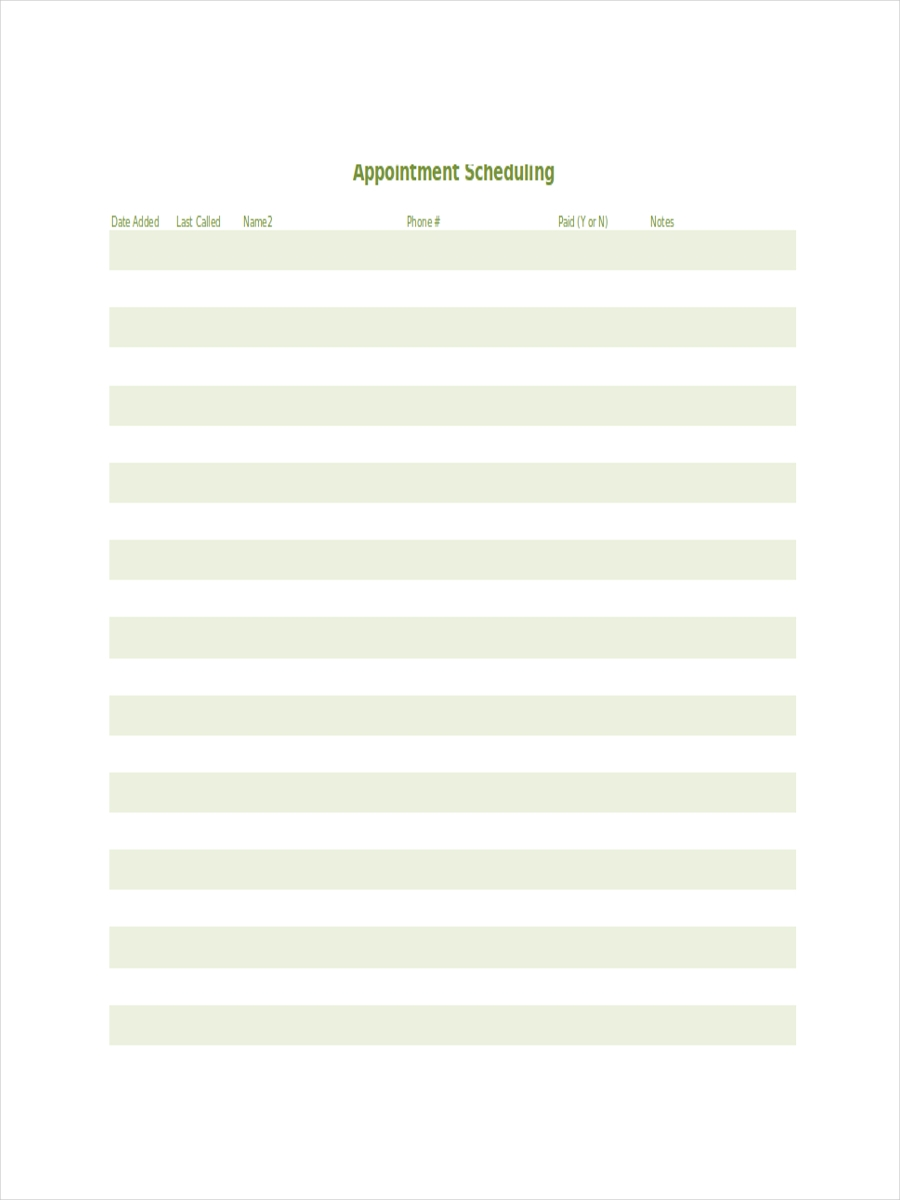 Printable Appointment Schedule