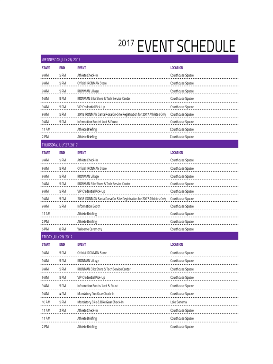 printable schedule for event