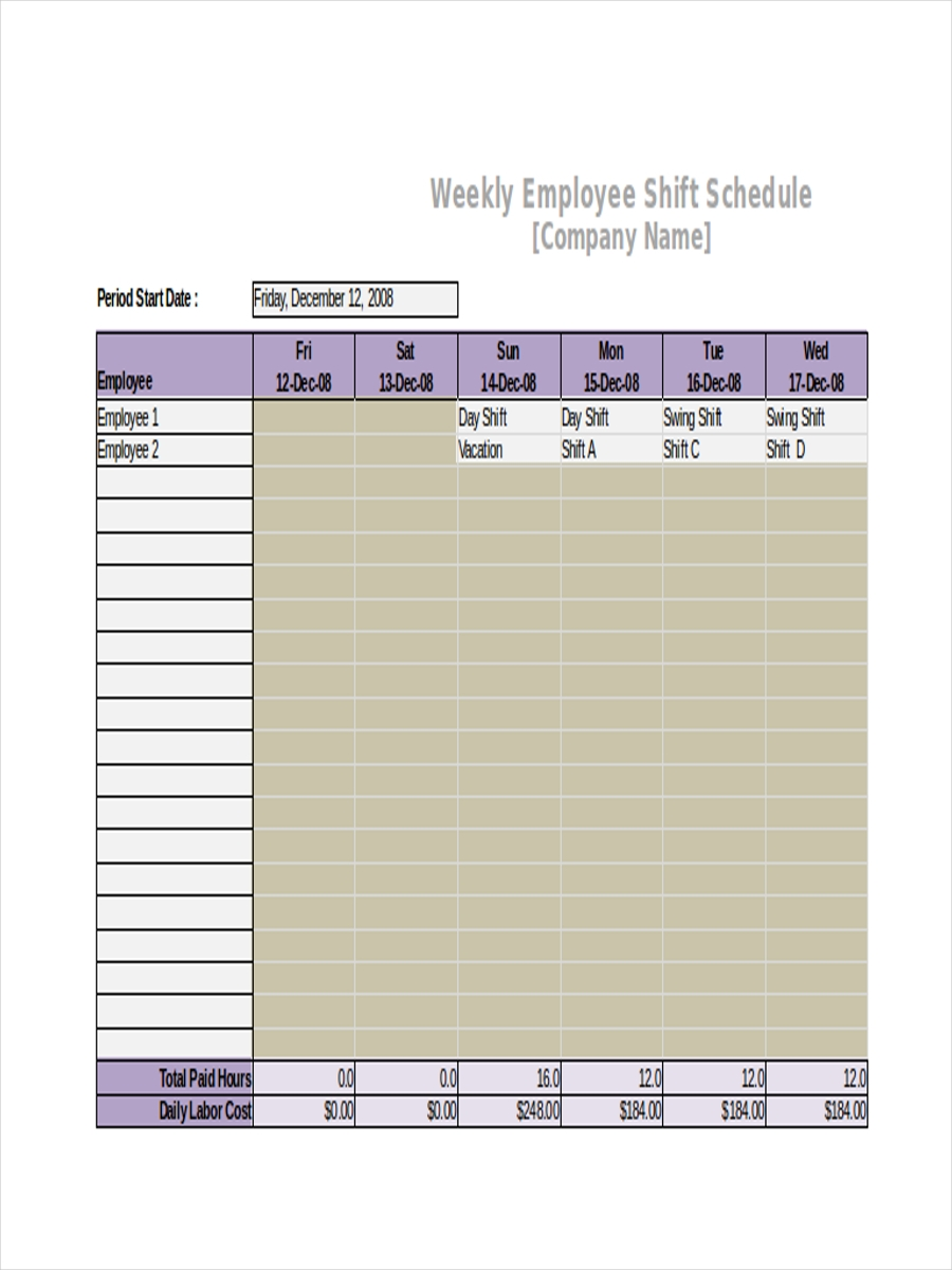 printable shift schedule sample