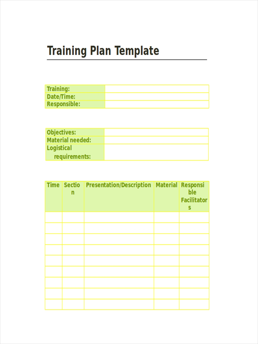 printable training schedule