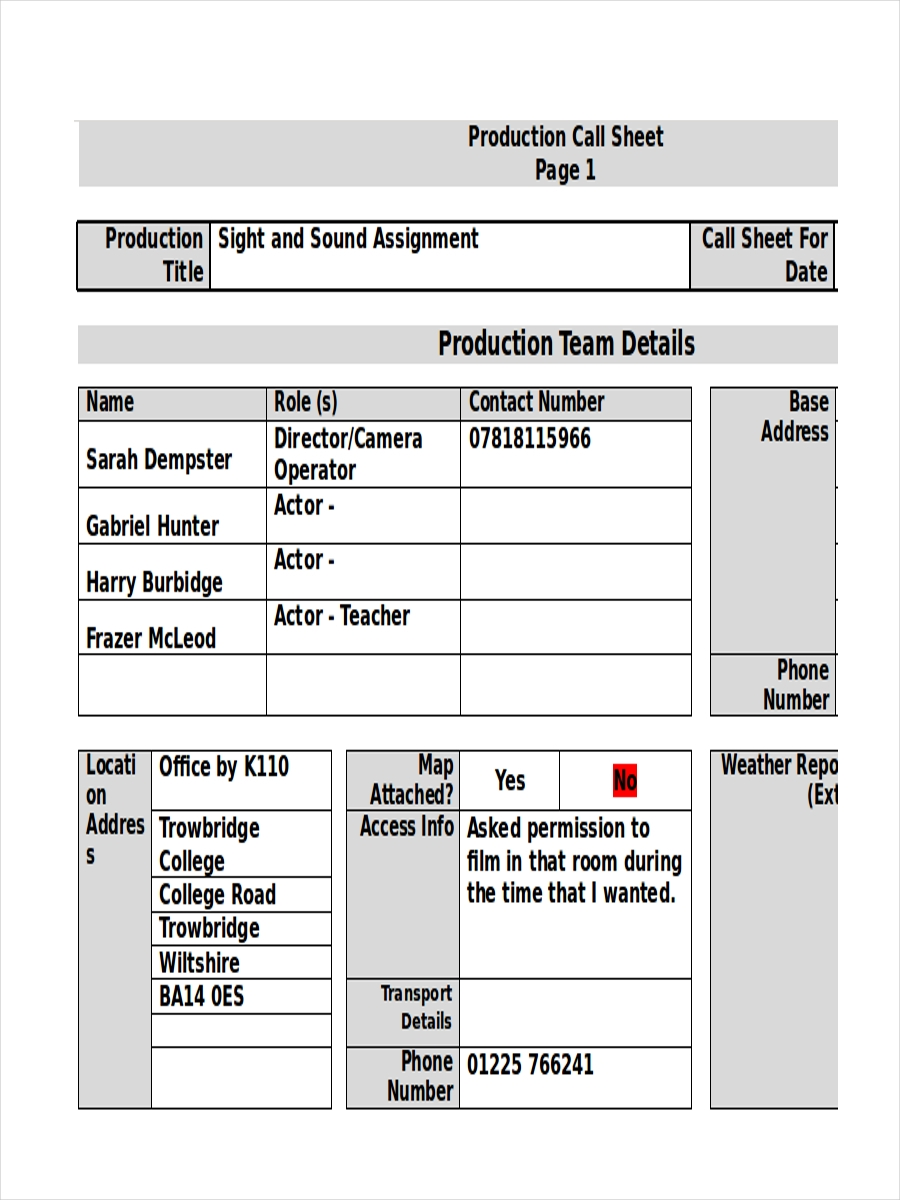 production call sheet