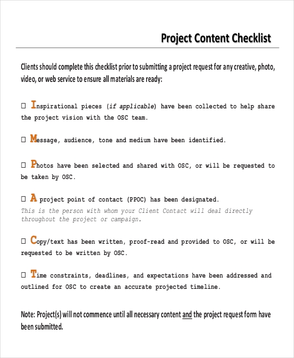 project content checklist