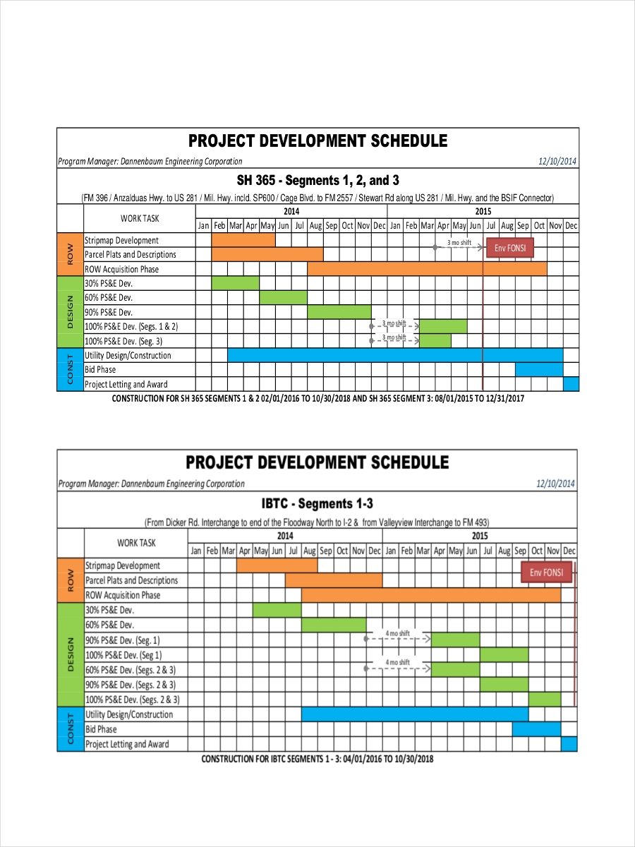 example project schedule