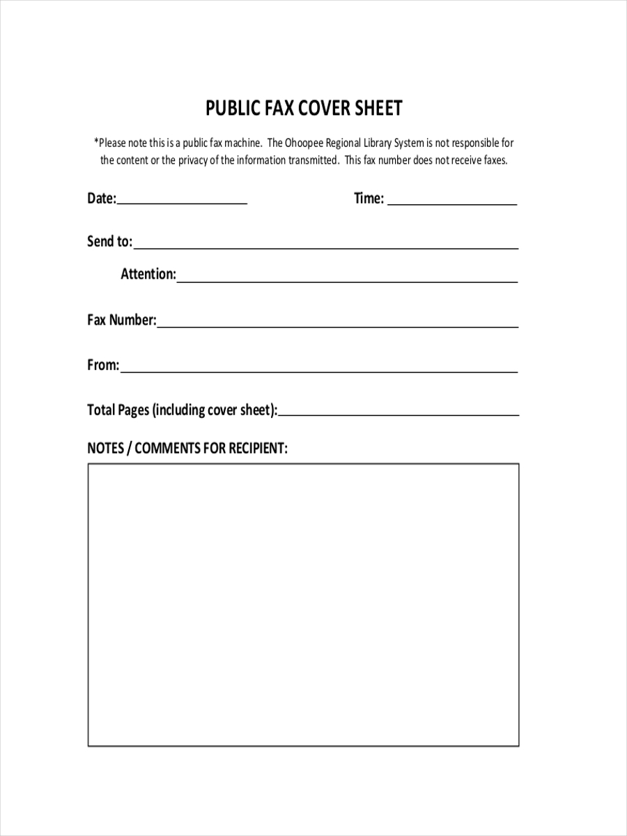 Public Fax Cover Sample Sheet