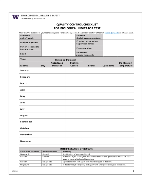 7 quality checklist examples samples for Quality control check sheet template