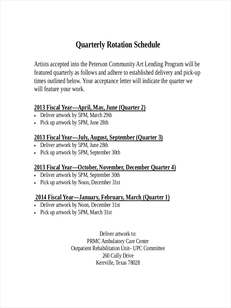 quarterly schedule for rotation