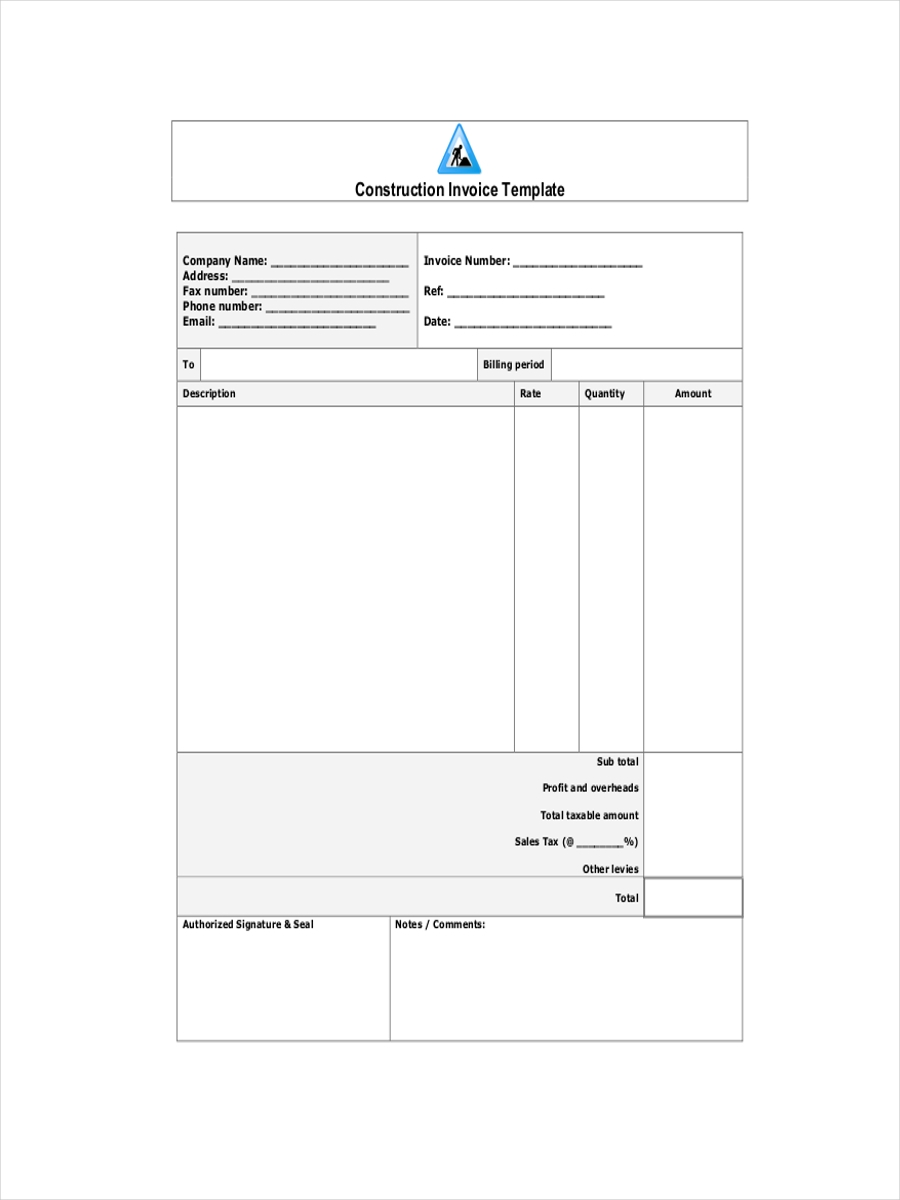 receipt for construction contractor