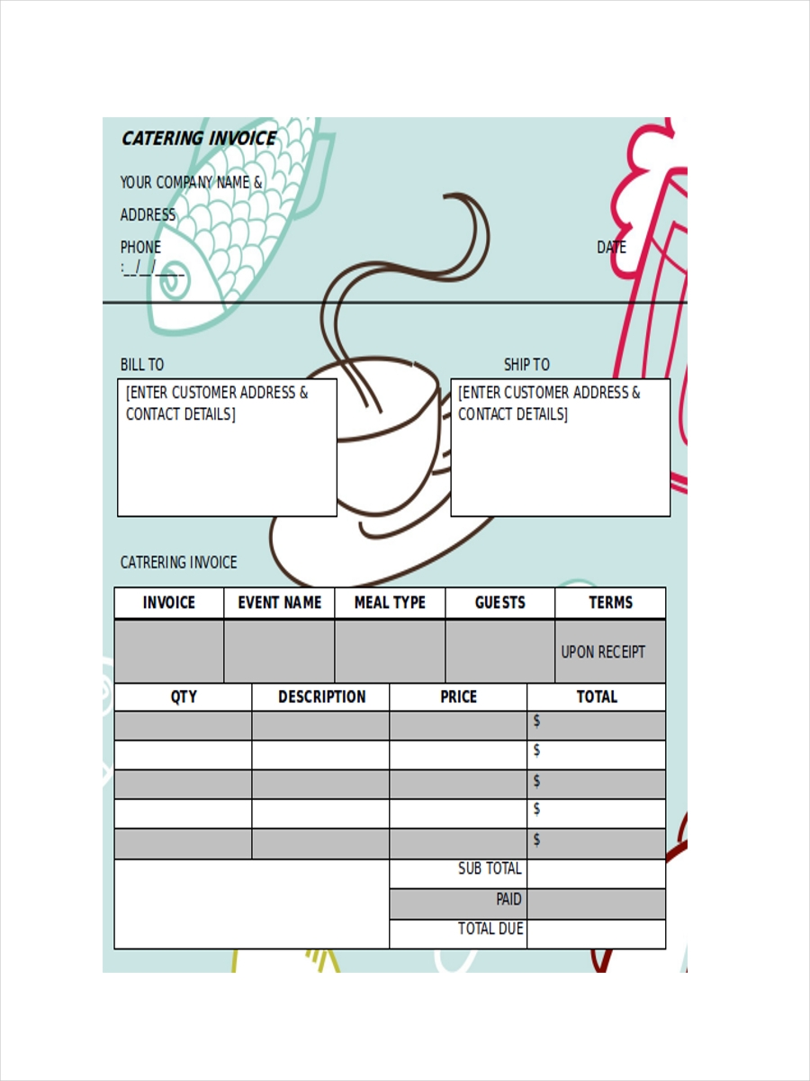 receipt for food catering