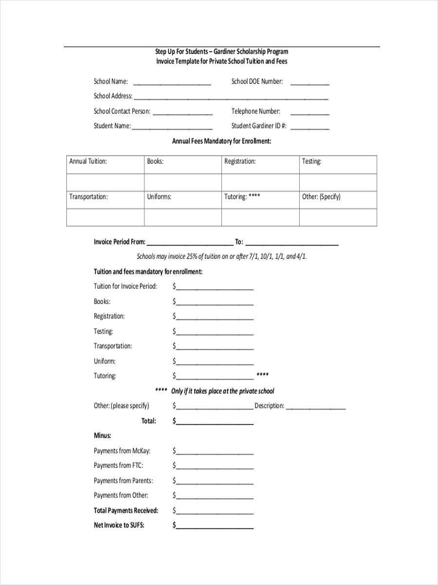6 school receipt examples samples