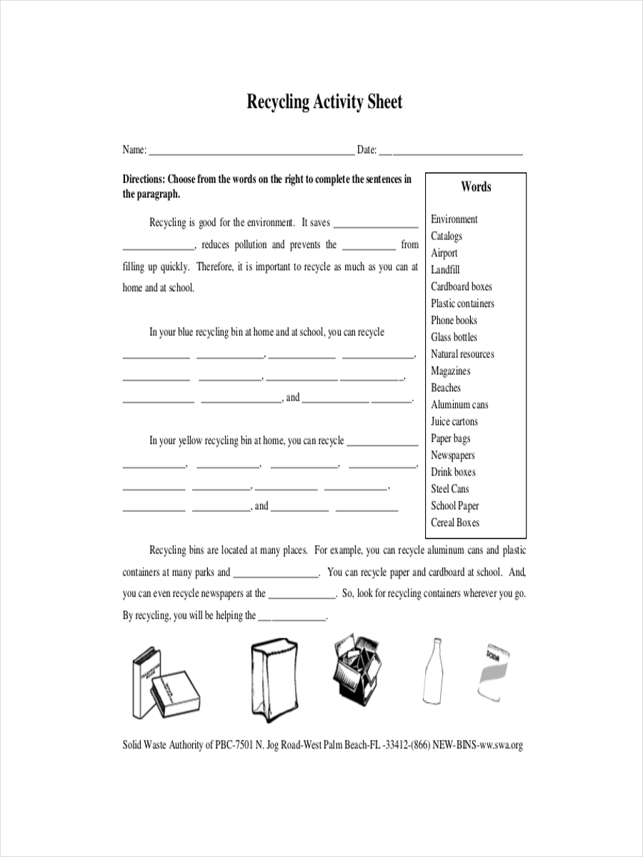 recycling activity sheet example