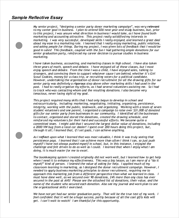 High School Essay Examples Samples Reflective High School