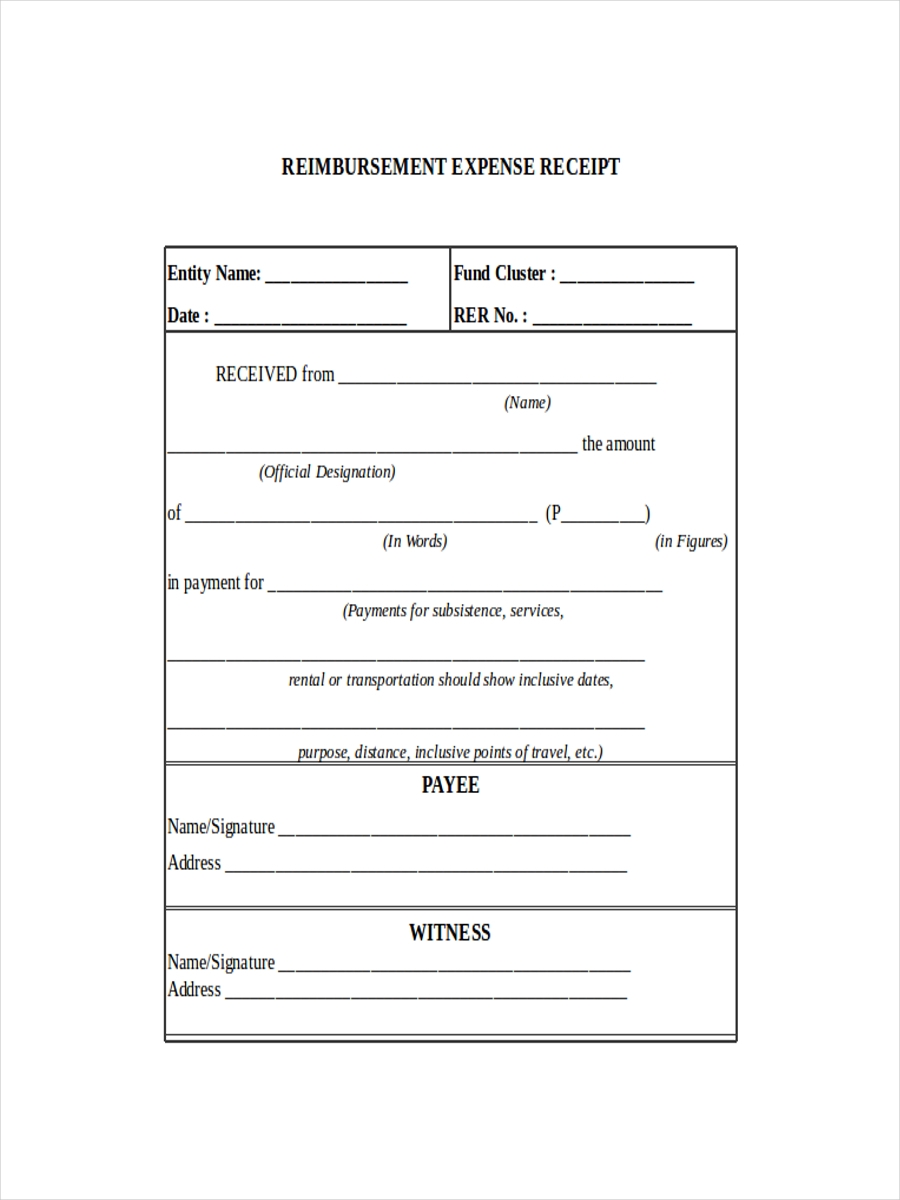 Reimbursement Expense Receipt  Expense Receipt Template