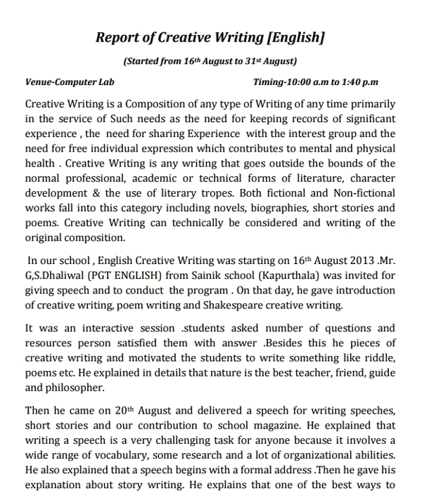 report of creative writing