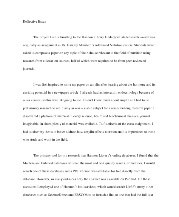 creative writing reflective essay examples