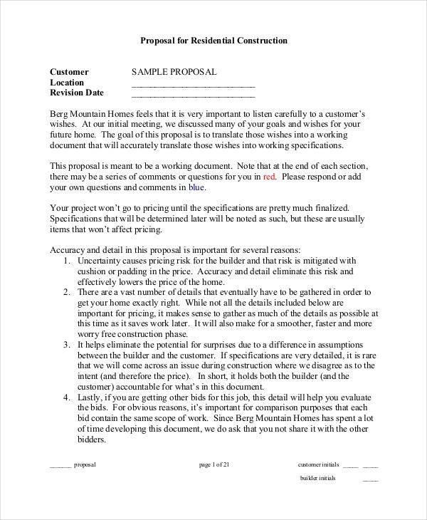 residential job proposal