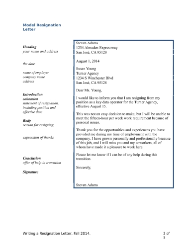 resignation email letter writing