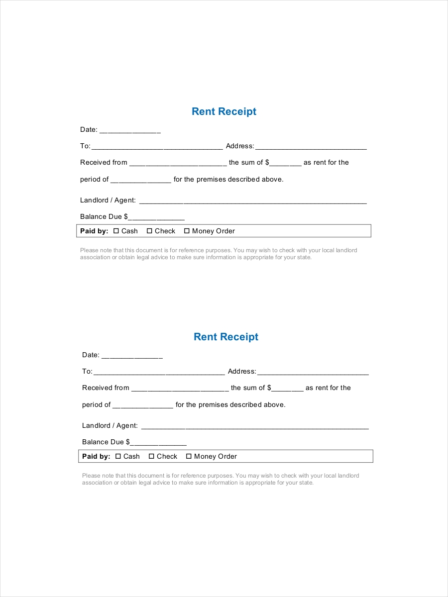 8 Rent Receipts Examples Samples – Room Rental Receipt