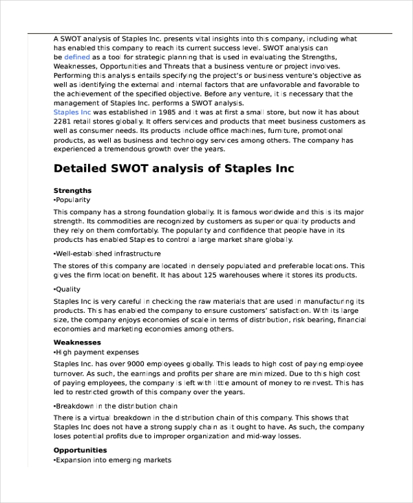 Swot Analysis Essay Swot Analysis From Essay An Introduction To
