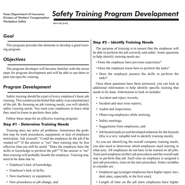 safety training program development
