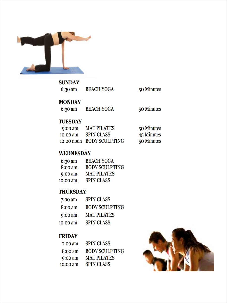 9 Examples Of Fitness Schedules