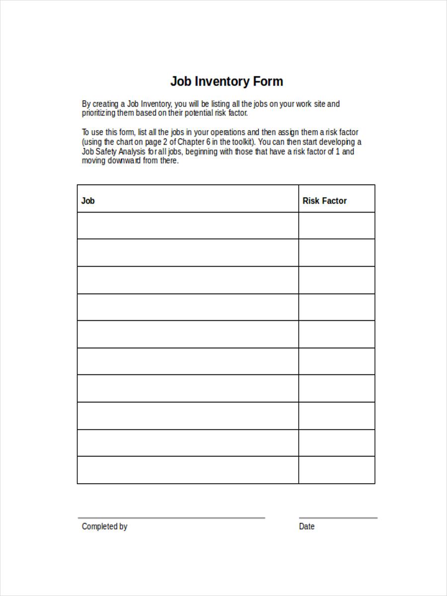 sample job inventory