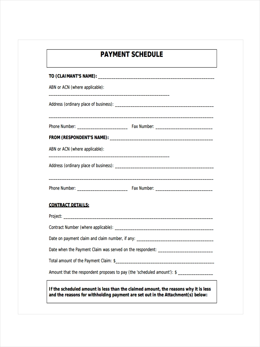 sample payment schedule