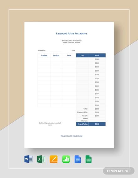 sample restaurant receipt template