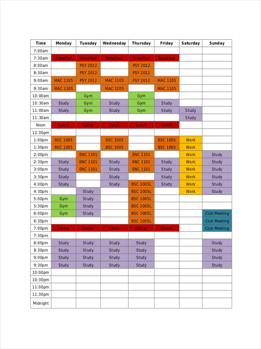 sample student schedule