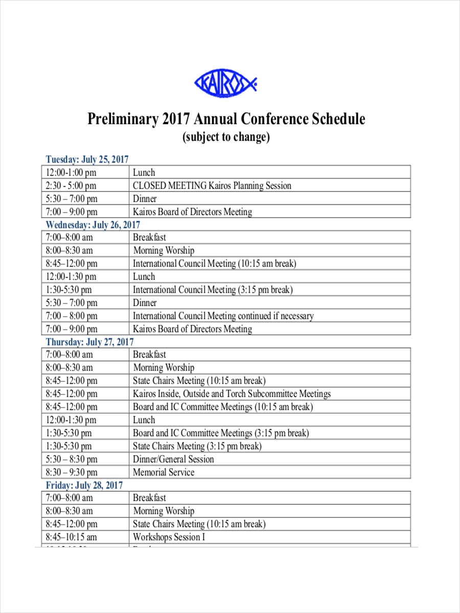 schedule for annual conference