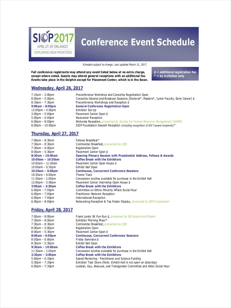 schedule for conference event