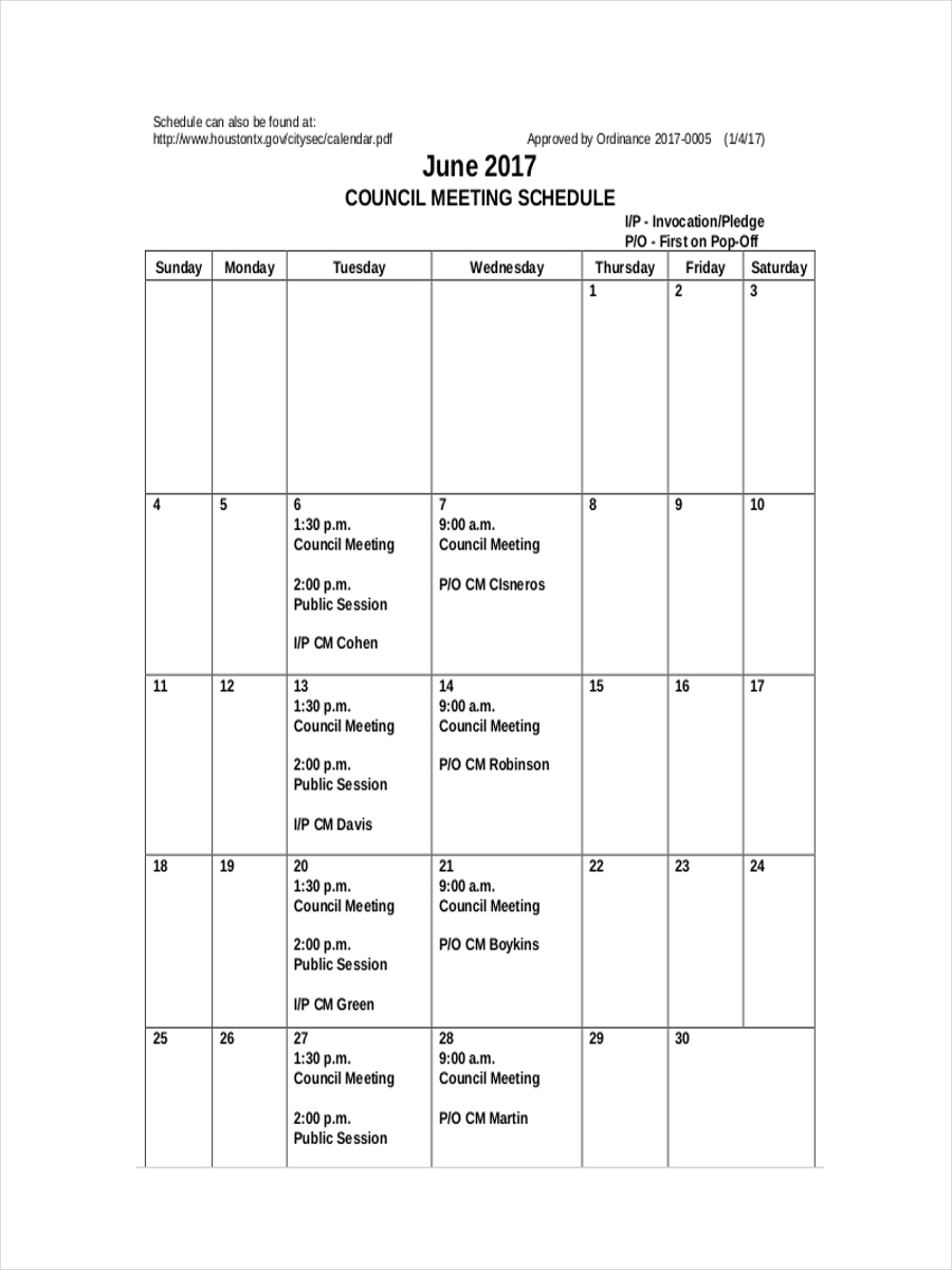 schedule for council meeting