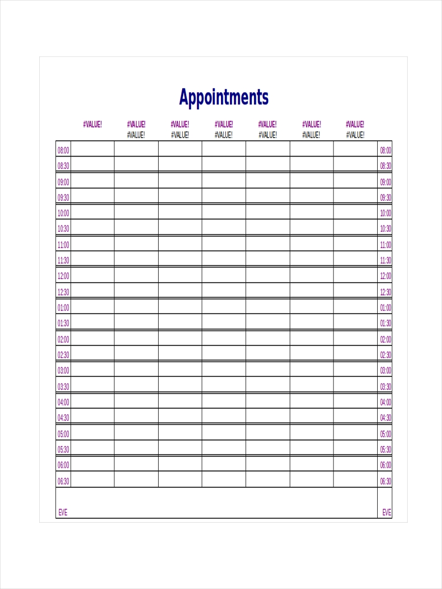 10  appointment schedule examples  samples
